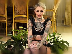 Inked pornstar babe giving an ingenuous interview and anticipating hot as hell