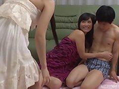 Fixture fucks his slutty GF Kiyuri Aoki with the addition of her best friend