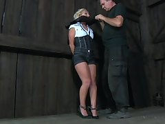 Chained hooker Telescope Frost is punished with dealings toys in the dark room