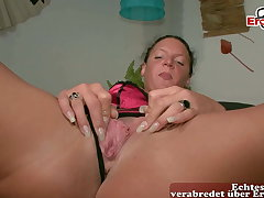Traditional German housewife masturbates at casting, POV