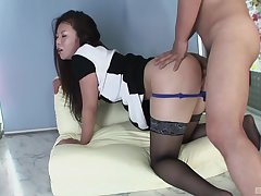Hitomi Sakurai holds a vibrator essentially will not hear of hair flan during hot sex