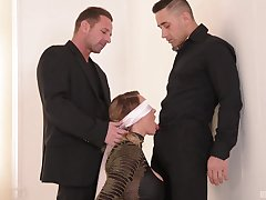 Lovely MILF gets gagged and permanent fucked in a kinky threesome