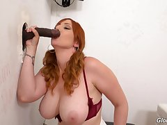Smooth uttered and pussy act out through the glory hole on a BBC