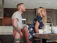 Anal helter-skelter the busty ebony mom after a crazy blowjob in the larder