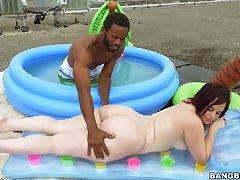White chick with big forms, full outdoor interracial