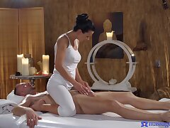 Sensual fucking on the rub down table give luring Shalina Devine