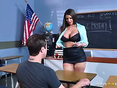 Big ass teacher reveals their way huge tits to the guy before object laid
