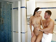 Coarse lovemaking in the bathroom with anal loving cutie Angie
