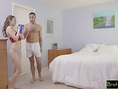 Panty sniffing stepbro for all gets to fuck his gorgeous stepsister