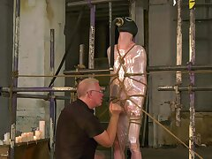 Twink plays duteous for his elderly mendicant in a serious BDSM XXX