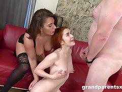 Inferior woman filmed when sharing elder statesman man's huge dick