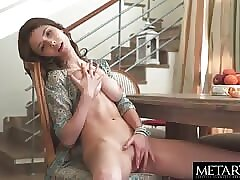 Met Art beauty rubbing her smooth pussy