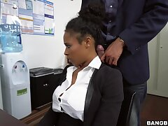 Ebony pleases boss with much more than simple spoken