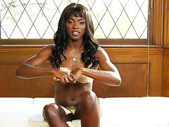 Gorgeous ebony babe Ana Foxxx strips slowly backstage