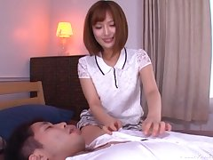 Cute Japanese in a miniskirt Okazaki Emiri creampied readily obtainable a hotel room