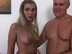 Erotic natural hooker Haley Hill strokes and sucks dick before mish