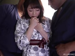 Kanade Jiyuu didn't think twice before having yoke hard cocks in her hands