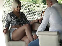 Red-letter footjob wits stunning blond babe with sexy legs Nicole Brix