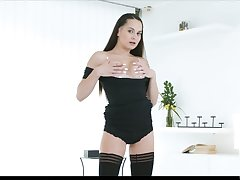 Stunning babe Ashley Native land can't stop playing with shaved pussy and yummy tits