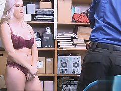 Guard fucks curvy babe after strip cross-examination