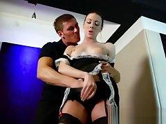 Stockings euro maid pleasured