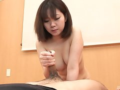 Busty Japanese girl treats mortal physically with a comfit dick
