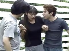 In foreign lands threesome is staggering adventure for Japanese sexy brunette