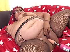 Sexy and horny BBWs enjoy their pussies being drilled by fucking machines