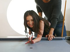 Cute girlfriend Gia Paige gets her pussy fucked on the pool table