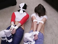 Two ludicrous sluts bound in jeans