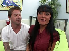 Hot blowjob scene with naughty porn long quill hottie in action