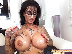 Hot german femdom milf with big tits with an increment of a flunkey