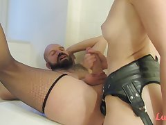 Dominatrix arse fucking her lover with strapon - femdom fetish