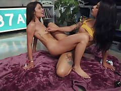 Dirty strap-on play with an increment of tribbing with Gina Valentina with an increment of Adria Rae