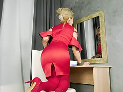 Madam close by red dress Power supply Ardour is masturbating wet pussy after nudie