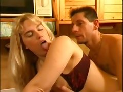 Busty blonde slut retro hard sex video