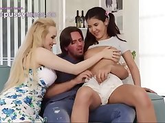 Ponytailed descendant and her step- mummy are having a kinky 3 way with a spectacular neighbor